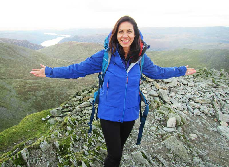 Julia Bradbury on top of Helvellyn © ITV