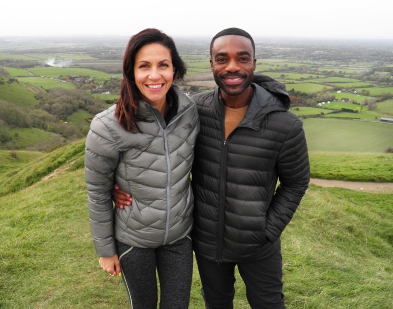 Julia Bradbury with Ore Oduba on the South Downs in East Sussex - © ITV Picture Desk