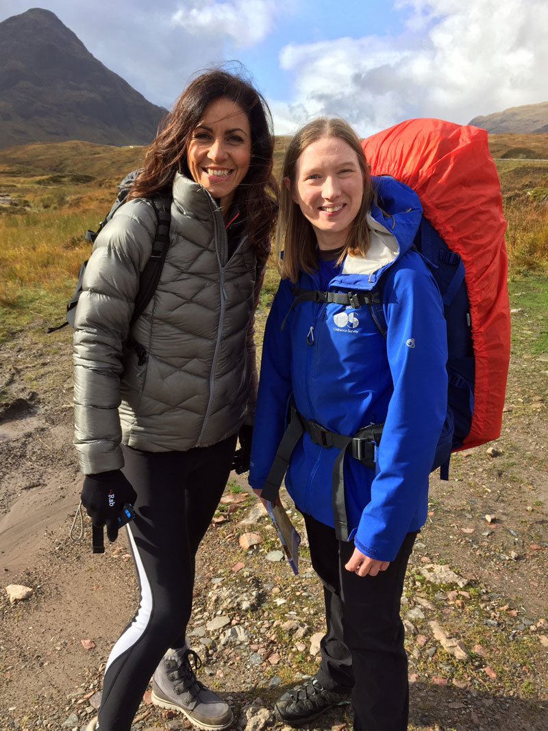 Presenter Julia Bradbury with OS GetOutside Champion Zoe Homes