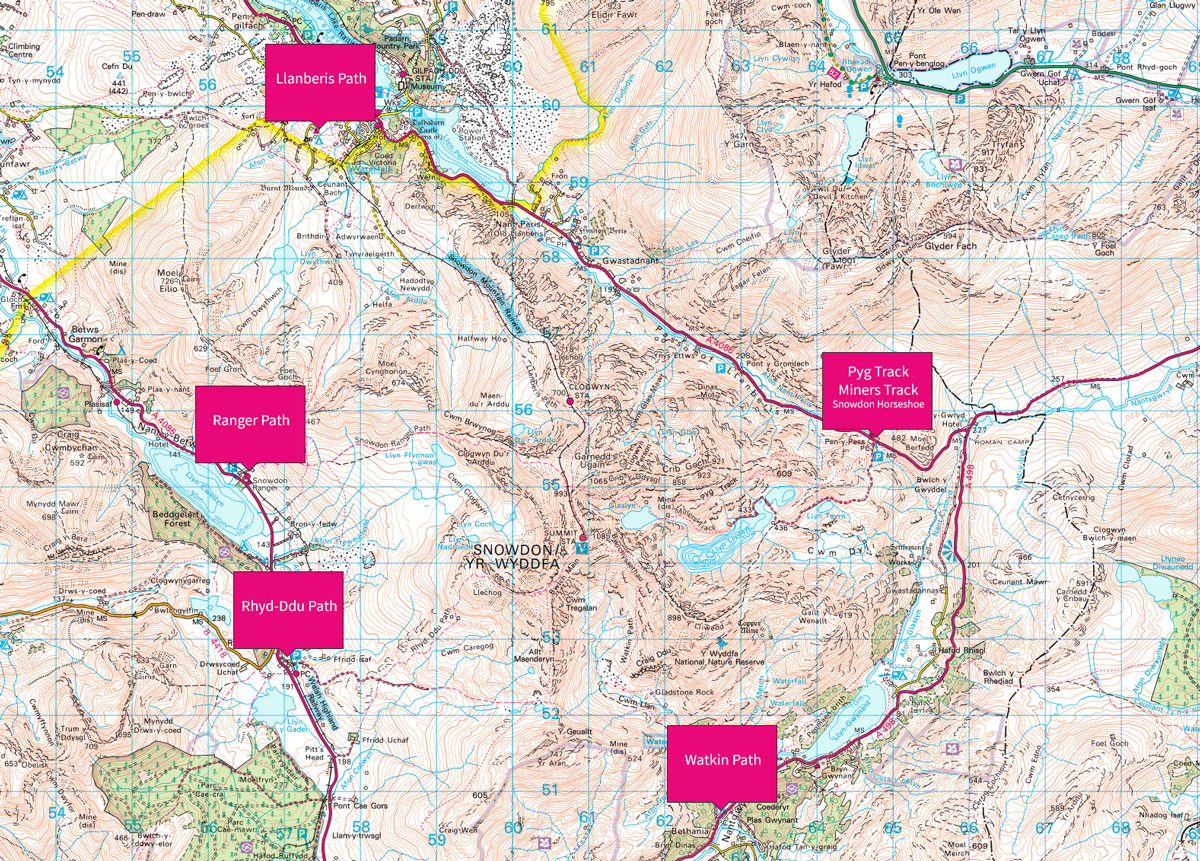 Snowdon - walking routes up the highest mountain in Wales on map a course, map a process, map a run, map a drive, map a path, map a distance, map a cut,