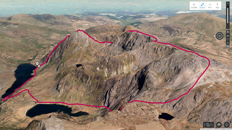 Tryfan, shown in the the OS Maps Aerial 3D layer