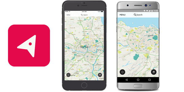 OS Maps app for iOS and Android